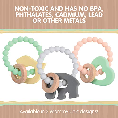 Chewbeads - Brooklyn Teething Toy - Silicone & Wood Teething Ring for Infants, Babies & Toddlers - Baby Teether & Rattle - Medical Grade Silicone, BPA Free & Phthalate Free - Grey