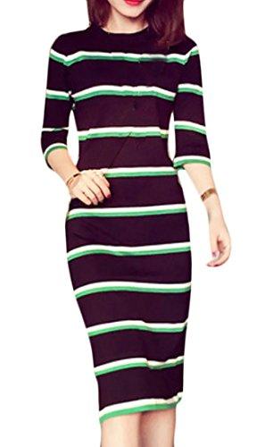 Delle Del Sottile Manicotto Di Nero Cruiize Colore Righe Mezzo Dresss Donne Maglia Matita A Contrasto WU8nt