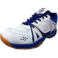 Port Women's HI-TEC White Blue Pu Badminton shoes