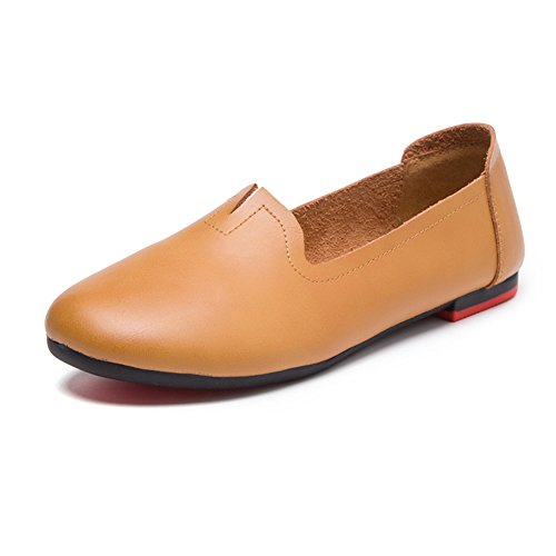 Womens Genuine Leather Casual Loafers Soft Sole Work Flat Shoes for Mothers Nurses Maternity Camel NV12EN1