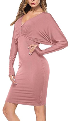 Jaycargogo Manches Longues V-cou Des Femmes Backless Robes Moulantes Couleur Unie Rose