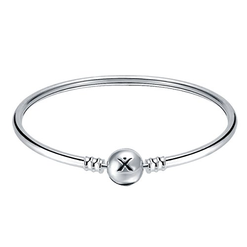 Changeable 925 Sterling Silver Women Charms Bracelet (Smooth Bangle) 19CM by Changeable (Image #1)