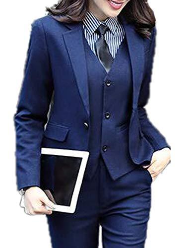 (JYDress Women's 3 Piece Elegant Formal Business Lady Office Suit Set Work Wear Navy Blue)
