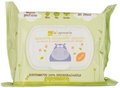 LA SAPONARIA - Toallitas limpiadoras Orgánicas Suaves para Bebés - Sin fragancia - Tejido 100%