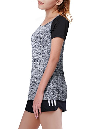 Timeson Women Tops Short Sleeve, Womens Short Sleeve Lightweight T-Shirt Top Pullover Slim Fitted Activewear Tee Shirt Gray Large