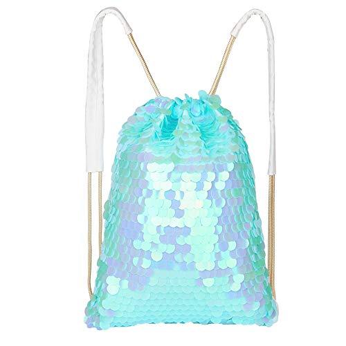 ICOSY Sequin Bag Mermaid Bag Sequin Drawstring Bag Shiny Sequin Backpack Dance Bag Sports Bag Mermaid Drawstring Backpack (Magic blue) -