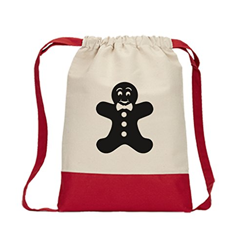 Drawstring Backpack Color Canvas Gingerbread Man Cookie Style 6 Style In Print (Gingerbread Print)