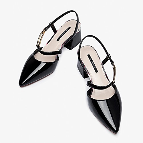 Verano Zapatos de un de Tacón Vacíos Zapatos Sandalias Solo con Después Negro de Baotou Calzado los Grueso U5wqIwtW