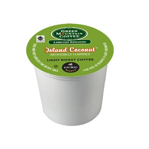 Green Mountain Coffee Light Roast K-Cup for Keurig Brewers, Fair Trade Island Coconut (Pack of (Green Mountain Coconut)