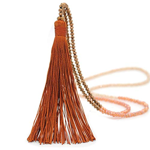 Moonsky Long Tassel Necklace Handmade Turquoise Pearl Crystal Beads Necklace for Women Fashion Jewelry (B: Coffe)