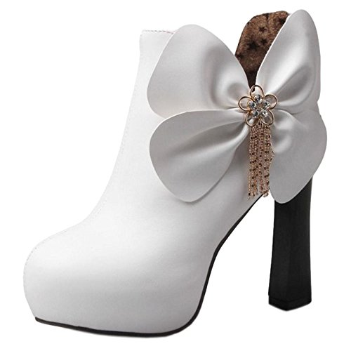 COOLCEPT Damen Mode Ankle Stiefel Zipper White