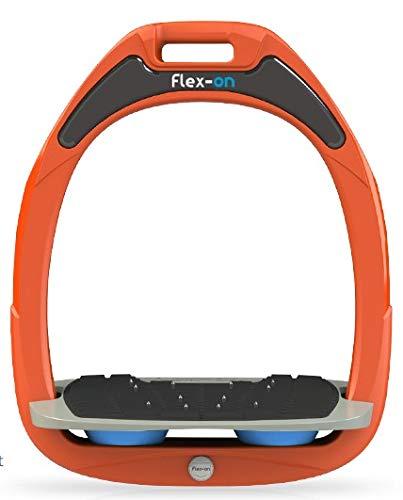 【 限定】フレクソン(Flex-On) 鐙 ガンマセーフオン GAMME SAFE-ON Mixed ultra-grip フレームカラー: オレンジ フットベッドカラー: グレー エラストマー: ライト ブルー 08924   B07KMPH3BH