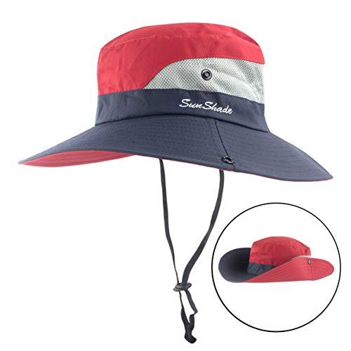 2ff7565d1 Muryobao Women Outdoor Sun Hat UV Protection Wide Brim Mesh Foldable Safari  Beach Fishing Bucket Cap,Red / Navy,One Size