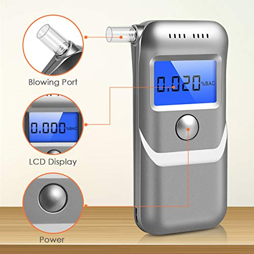 Breathalyzer, New Upgraded Portable Breath Alcohol Tester LED Screen, Digital Battery Power Alcohol Detector with 5 Mouthpieces for Home Party Use - Silver