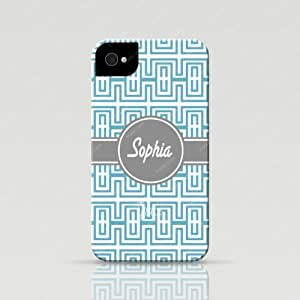 Froolu ? Personalized iPhone 4 and 4s Case - Turquoise Greek Key Pattern design available in tough case and snap on case