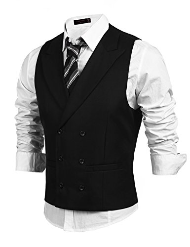 Coofandy Mens Double Breasted Slim fit Suit Vest Dress Waistcoat, Medium (US Small), Black Breasted Dress Coat