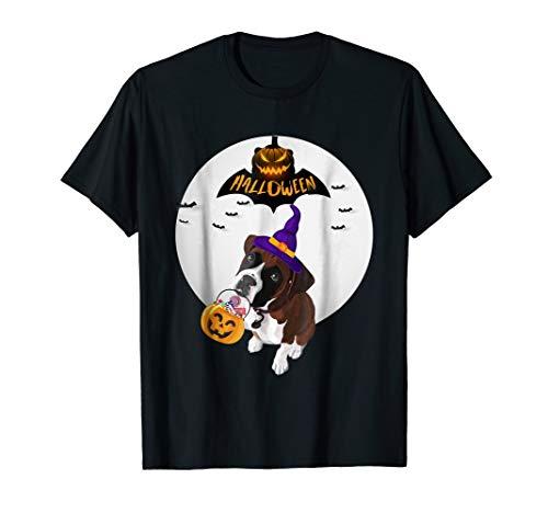 Halloween Boxer Dog Lover Pumpkin Moon T Shirt