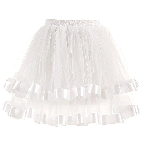 POachers Layered Ruffle Tulle Ballet Girls Jupe Tutu Femmes lastique Stretch Pliss Gauze Couleurs Jupe Courte Adulte Tutu Danse Jupe Blanc