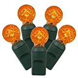 Vickerman 50 Count Single Mold G12 Berry LED Light Set with Green Wire, Orange