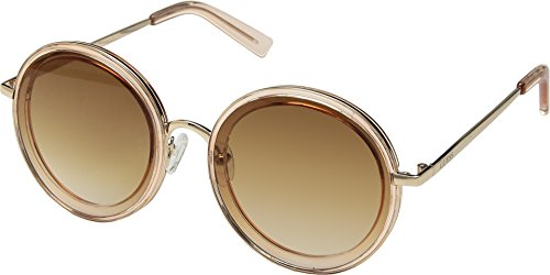 (GUESS Women's GF0330 Shiny Light Brown With Rose Gold/Brown Gradient Lens One Size)