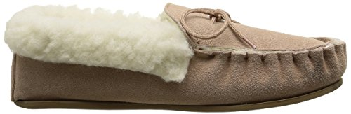 Ladies Tan Suede Moccasin Slippers with Hard Sole and Wool Cuff. Sizes 3 to 9 WkRE8