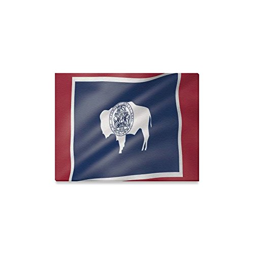 Wyoming Flag American US State Oil Painting Canvas Print Modern Wall Art for Home Decoration 16x12inch