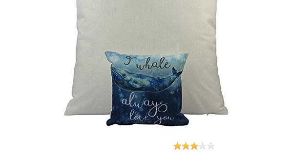 Uniikstuff Mini I Whale Always Love You Pillow 8 X 8 Throw Pillow Home Decor Modern Coastal Decor Pillow Nautical Pillow Covers Whale Home Kitchen