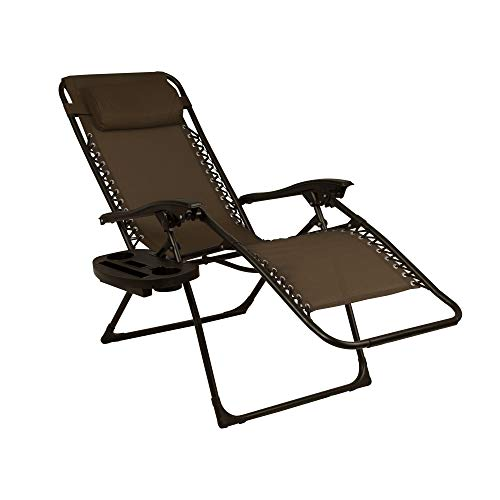 Zero Gravity Lounge Set of 2 Outdoor Reclining Lounge Chairs with Cup Holders Brown Color