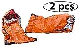 F&W Emergency Sleeping Bag-Use as Emergency Bivy Sack Light-Weight Polyethylene Survival Sleeping Bag for Camping Travel Hiking(2 Pack)