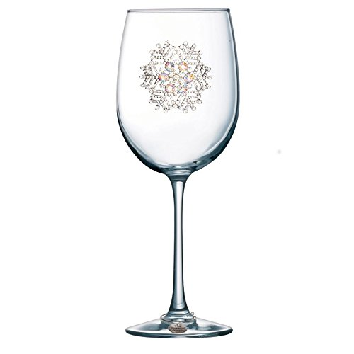 THE QUEENS' JEWELS Snowflake Jeweled Stemmed Wine Glass - Unique Gift for Women, Birthday, Cute, Fun, Holiday, Not Painted, Decorated, Bling, Bedazzled, Rhinestone (Jewel Box Wine)