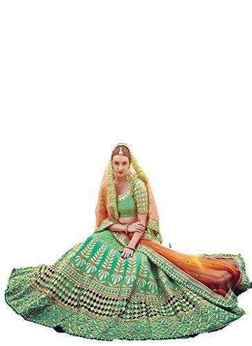 EthnicWear Pakistani Bollywood Designer Bridal Wear Silk Sea Green Lehenga Choli (Pakistani Bridal Lehenga)