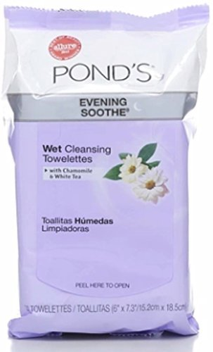 Pond's Wet Cleansing Towelettes, Evening Soothe, 28 ea (Pack of 7)