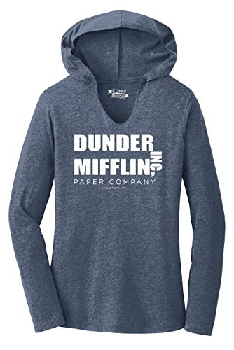 Ladies Hoodie Shirt Dunder Mifflin A Paper Company Funny TV Show Shirt Navy Frost S from Comical Shirt