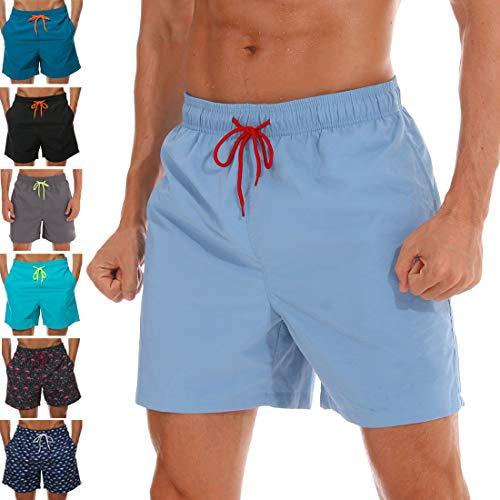 SILKWORLD Men's Swim Trunks Quick Dry Beach Shorts with Pockets (US S (Fits Waist 30.5