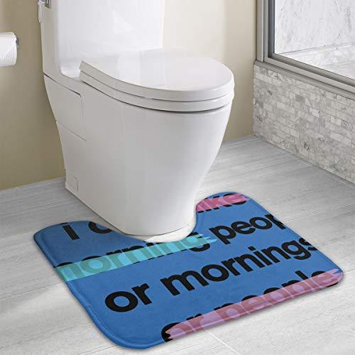 Janvonne I Don't Like Morning People Contour Bath Rugs, U-Shaped Bath Mats,Toilet Floor Rug Mats Carpet Non-Slip,Water Absorbent, Soft Thick Plush Bathroom Rug ()