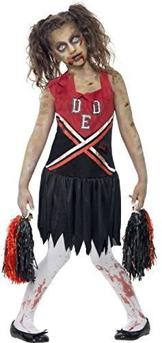 Girls Teens Dead Blood Stained Evil Zombie American Red & Black Cheerleader Halloween Fancy Dress Costume 7-14 Years (10-12 Years) -