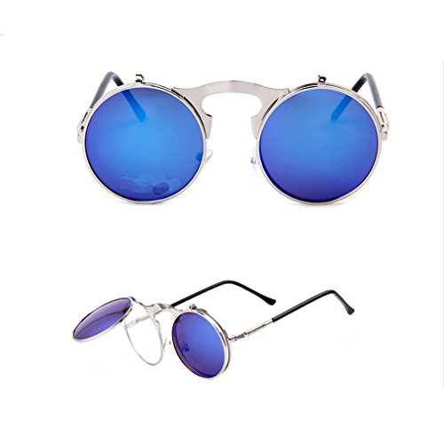 2015 New Vintage Steampunk Sunglasses Round Designer Steam Punk Metal Women Coating Sunglasses Men Retro Circle SUN Glasses - New Glasses 2015