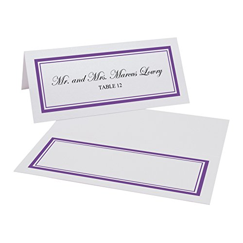 (Documents and Designs Double Line Border Easy Print Place Cards (Select Color), Purple, Set of 150 (25 Sheets))