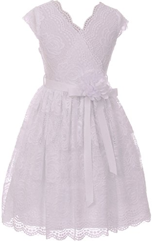 Little Girl Cap Sleeve V Neck Flower Stretch Lace Corsage Birthday Holiday Dress (20JK66S) White 4