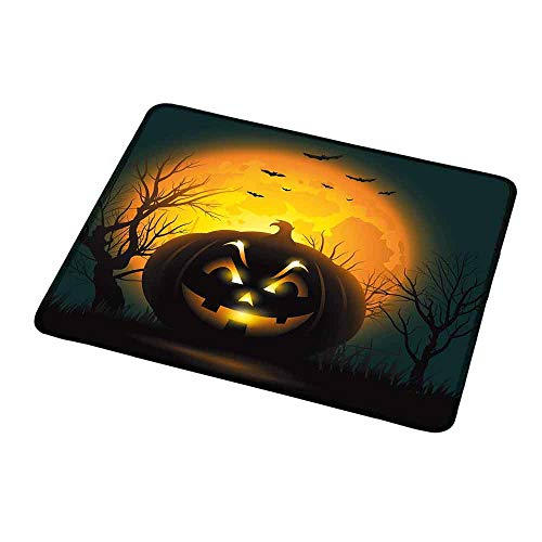 Personalized Mouse Pad Halloween,Fierce Character Evil Face Ominous Aggressive Pumpkin Full Moon Bats,Orange Dark Brown Black,Customized Desktop Laptop Gaming Mouse Pad 9.8