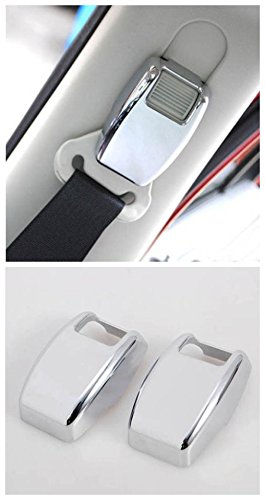 (Nicebee Silver Mirror Interior Accessories front driver pessager seats belt adjust button Buckle decorative cover sticker trim frame ABS for jeep compass 2008-2016)