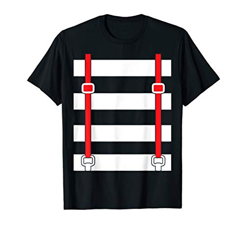 Funny Suspenders Striped White Rabbit Twins T-Shirts -