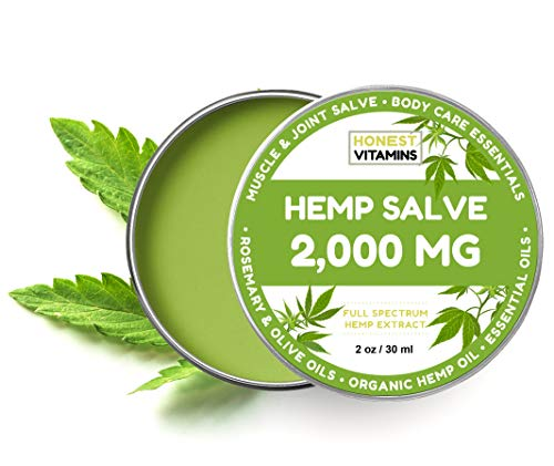 Hemp Oil Salve for Pain Relief - 2000 MG - Max Strength. 100% Natural Ointment. Perfect for Arthritis, Knee, Joint, and Back Pain. 1-Year Guarantee. Made with Organic Ingredients. (2oz)