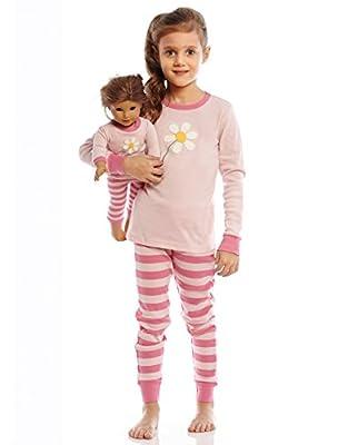 Leveret Girls Matching Doll & Kid Flower 2 Piece Pajama (2-10 Years)