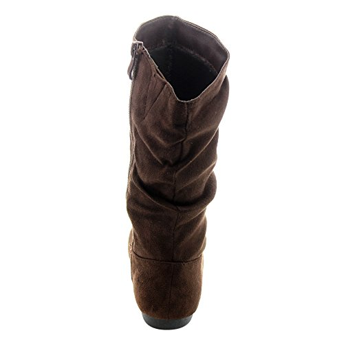 Girl's Brown Color Selena Boots Mid 23K Solid Flat Heel Calf Slouch Link TRxawq