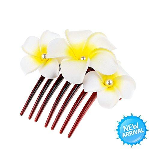 Accesyes Plumeria Hair Clips Hawaii Hairpin Bobby Pin Flower Foam Hair Clip Plumeria Rubra Flower Headpiece Accessory Hair Combs (Foam Headpiece)