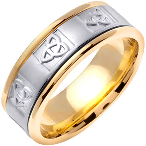 (14k Two-tone (Yellow and White) Gold Celtic Trinity Knot Women's Comfort-fit Wedding Bands (8mm) Size-3)