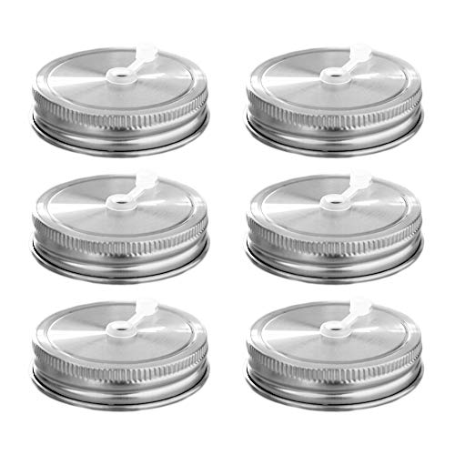 - 6 Pack Regular Mouth Mason Jar Stainless Steel Lids Straw Hole With Silicone Rings