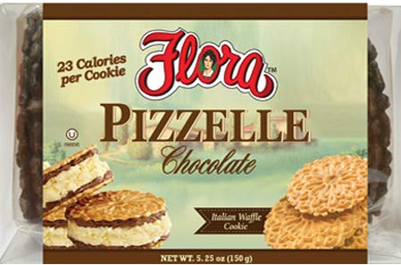 Pizzelle Cookies by Flora Foods (Chocolate) - Italian Waffle Cookie - Sweet Snack - Great snack ONLY 23 calories