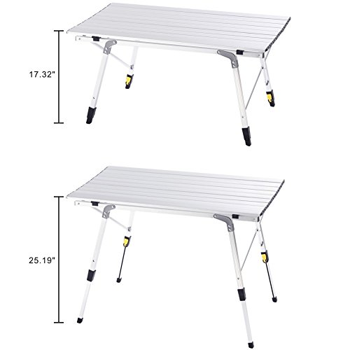 Campland aluminum height adjustable folding table camping - Camping table adjustable height ...
